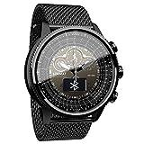 SVUZU Relojes Deportivos de Cuarzo para Hombre Cronógrafo Reloj de Pulsera analógico de Acero Inoxidable con podómetro de calorías con Control de frecuencia cardíaca Impermeable para and