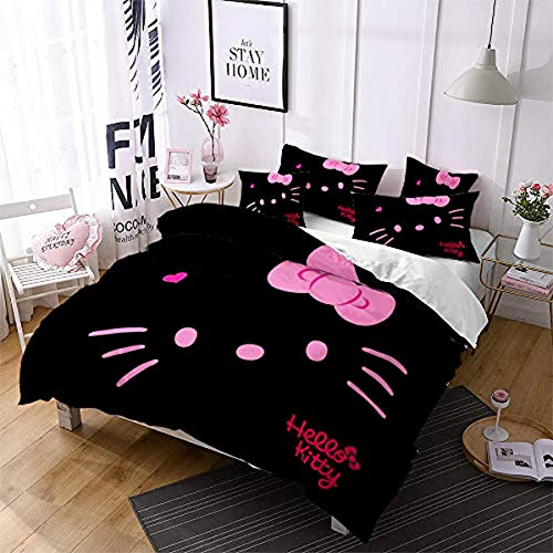 QWAS Hello Kitty - Funda nórdica para niños y niñas, diseño de Hello Kitty, impresión digital 3D (L1,220 x 240 cm + 50 x 75 cm x 2)