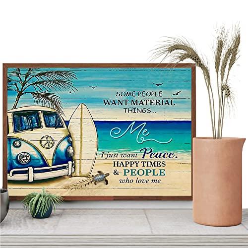 Póster de lona de viaje con tabla de surf en el tejado del día de los muertos en la playa, cartel de lona para autobús que no se deja de fumar, impresión de tortuga, sin marco, 16 x 24 pulgadas