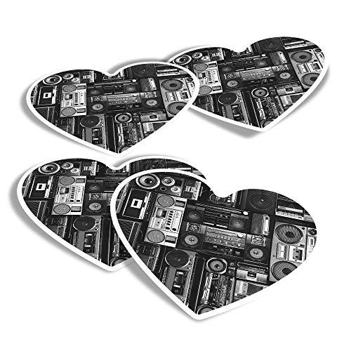 Pegatinas de vinilo con forma de corazón (juego de 4) – BW – Radios Cassette Player Retro Music Fun Calcomanías para ordenadores portátiles, tabletas, equipaje, reserva de chatarra, neveras #36180