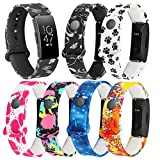 Bands Compatible with Fitbit Ace 2 Band Replacement Silicone Printing Pattern Wristband Starps for Ace 2 Bands for Kids (Multicolor-6pcs)