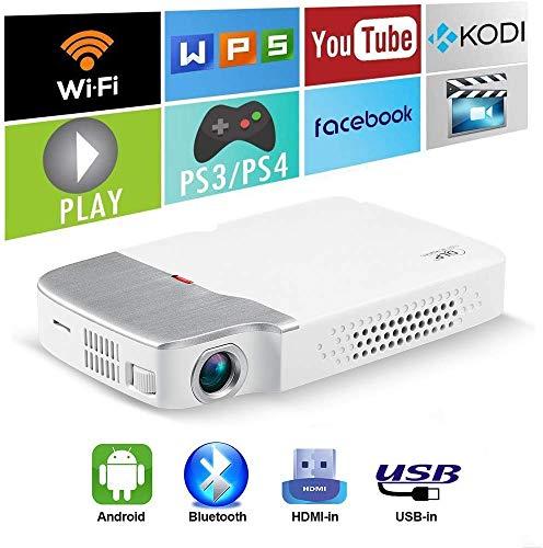 Proiettore DLP portatile sistema Android senza fili Mini proiettore for Home Video Cinema batteria incorporata supporto Wifi 1080P altoparlante Bluetooth compatibile con i dispositivi USB TF HDMI