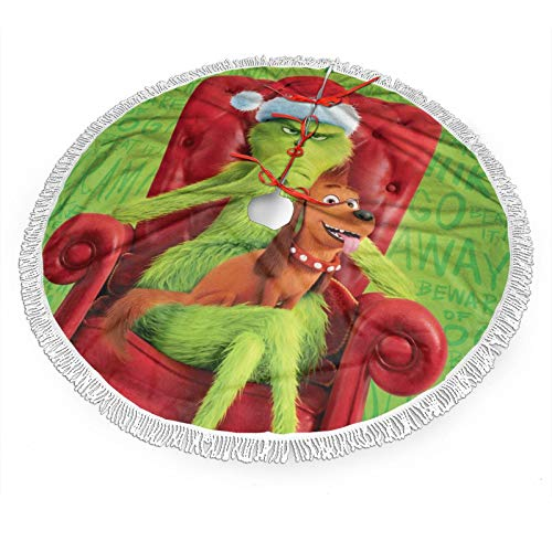 Nyf Grinch-Stole Christmas Christmas Tree Skirt with Fringe Mat Xmastree Skirt for Party Holiday Decorations 36