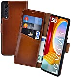 Suncase Book-Style Hülle kompatibel mit LG Velvet 5G Leder Tasche (Slim-Fit) Lederhülle Handytasche Schutzhülle Hülle mit 3 Kartenfächer in Burned-Cognac