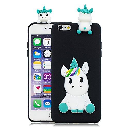 HopMore Compatible con Funda iPhone 6S / 6 (4.7 Inch) Silicona Dibujo 3D Divertidas TPU Gel Kawaii Ultrafina Case Antigolpes Caso Protección Design Carcasas Gracioso - Unicornio Negro