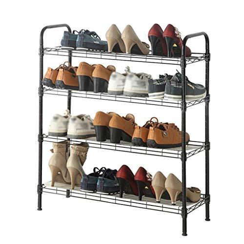 WYZXR Zapatero de metal de gran capacidad, 12 – 16 pares de zapatos, moderno y minimalista, estante organizador de zapatos, 4 niveles, negro, 70 × 25 × 86 cm