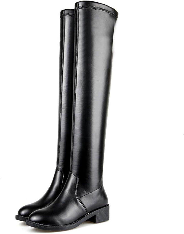 Kvinnliga skor Genuine läder Mode Mode Mode Andbar Över Knee Boot Stovepipe Lady Long Warm stövlar  handla på nätet
