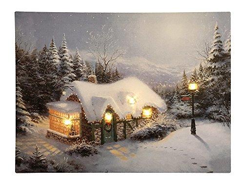 zeitzone LED Bild Winter Weihnachten Berghütte Winterlandschaft Beleuchtet 28x38cm