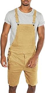 Tuta da uomo in denim vintage strappato pantaloncini con fibbia ampia vestibilità pagliaccetto con tasche laterali