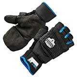 Fingerless Winter Work Glove with Flip Top Mitten, Thermal Fleece Lined, Ergodyne ProFlex 816, Black, XX-Large
