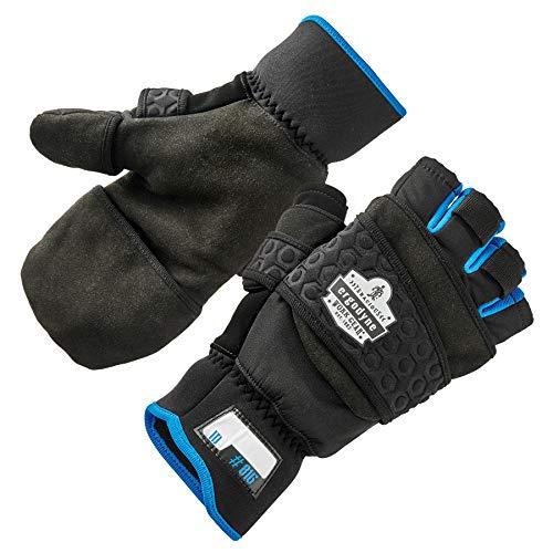 Fingerless Winter Work Glove with Flip Top Mitten, Thermal Fleece Lined, Ergodyne ProFlex 816, Black, Large