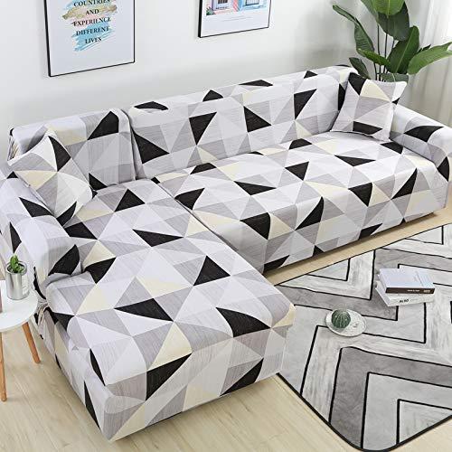 xingguang Pokrowiec na sofę pokrowiec na sofę geometryczny pokrowiec na kanapę elastyczny pokrowiec na sofę do salonu zwierzęta narożny kształt L szezlonga sofa narzuta 1 szt. (kolor: Kolor 26, specyfikacja: 3-osobowa 190 230 cm)