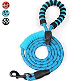 MEKEET Rope Dog Lead, 6 FT Double Soft Padded Handle Dog Leash, Highly Reflective Dog Lead Threads for Puppy and Medium Large Dogs(Blue)