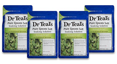 Dr Teal's Epsom Salt Soaking Solution, Relax & Relief, Eucalyptus and Spearmint, 4 Count - 3lb Bags, 12lbs Total