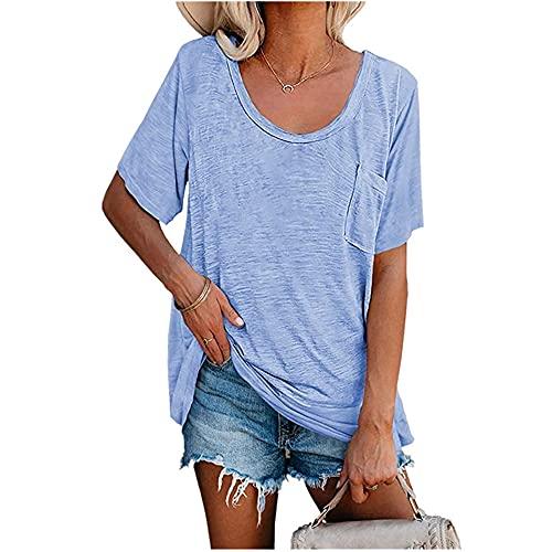 Camiseta Mujer Suelta Cómoda Elegante Cuello Redondo Manga Corta Moda De Verano Casual Color Sólido Clásico All-Match Camisa Dulce Mujer Top Mujer Blusa F-Blue 3XL