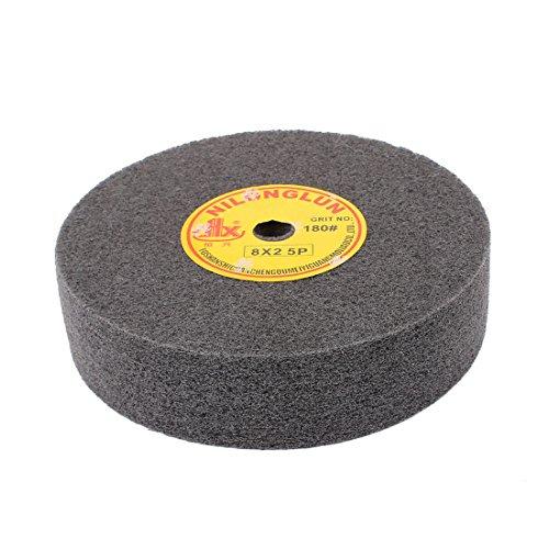 "uxcell 8"" Dia 2"" Thick 5P 180 Grit Nylon Fiber Wheel Abrasive Polishing Buffing Disc Black"