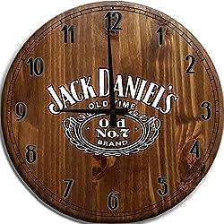 TBA Large Wall Clock Classic Drinking Whiskey Bar Sign Home Decor Classic Walnut 18 inch Wall Decor