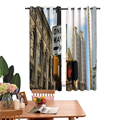 Perforated Curtains Decorative Curtains for Living Room One Way Sign in Front of Atlanta Skyline Downtown Apartments Urban View Ivory Black Pale Blue Insulation Noise Reduction W55 x L39