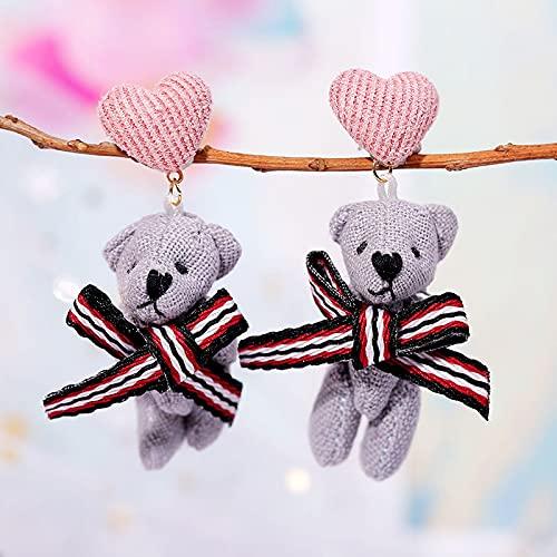 YULE Pendientes de gota de abeja animal lindos pendientes para mujeres y niñas, joyería estilo coreano de moda hecho a mano lana larga cadena pendiente (Color de metal: E925 5)