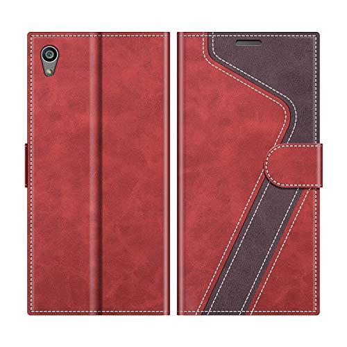 MOBESV Handyhülle für Sony Xperia Z5 Hülle Leder, Sony Xperia Z5 Klapphülle Handytasche Hülle für Sony Xperia Z5 Handy Hüllen, Modisch Rot