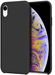 غطاء حافظ ايفون اكس ار مصنوع من السيلكون السائل لحماية الايفون اكس ار من الصدمات والاوساخ اللون أسود