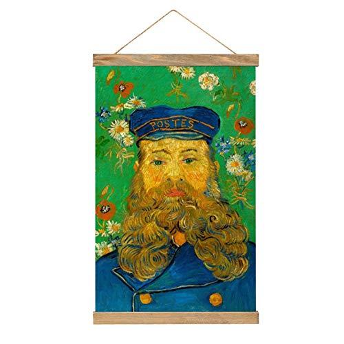 HirrWill Lienzo para colgar un cuadro, retrato de cartero Joseph Lulan, decoración de pared artística, tiras de madera y cordón, 33.1 x 50.4 cm.