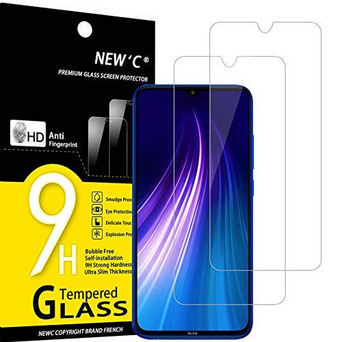 NEW'C Lot de 2, Verre Trempé Compatible avec Xiaomi Mi 9 Lite, Xiaomi Redmi Note 8, Film Protection écran sans Bulles d'air Ultra Résistant (0,33mm HD Ultra Transparent) Dureté 9H Glass
