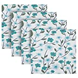 xigua Juego de 4 servilletas de tela floral color azul cian, suaves y lavables de poliéster, con bordes dobladillos, para bodas, fiestas, cenas de vacaciones y más, 50,8 x 50,8 cm