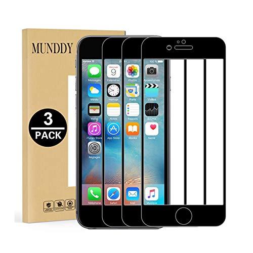 MUNDDY - Pack DE 3 Protectores de Pantalla Completa Full Glue para iPhone Dureza 9H sin Burbujas .Full Glue Cristal Templado de Cobertura Completa con Bordes Redondeados (iPhone 6 / iPhone 6s Negro)