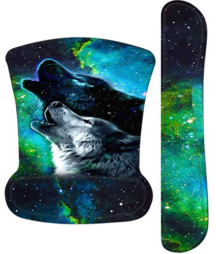 Galdas Mouse Pad with Wrist Support and Keyboard Support Mouse Mat with Wrist Rest Keyboard Wrist Rest ,Memory Foam Wrist Support for Easy Typing & Pain Relief for Laptop Gaming Office (Wolf)
