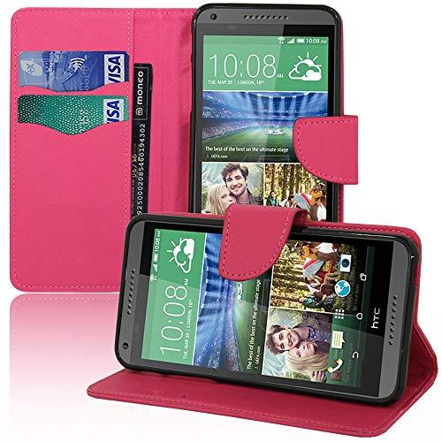 Annart Schutzhülle für HTC Desire 816/816G Dual Sim, Schutzhülle Folio Buch Klappdeckel Stoff-Effekt für HTC Desire 816/816G Dual Sim, Rosa