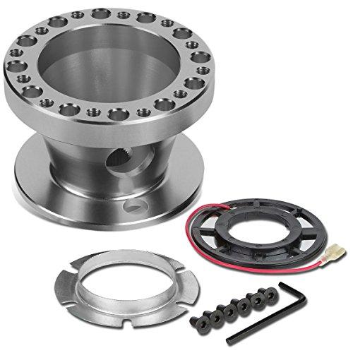 Steering Wheel 6-Hole Hub Adaptor Kit Compatible with Miata / RX7 / RX8 / Protégé, Aluminum, Silver