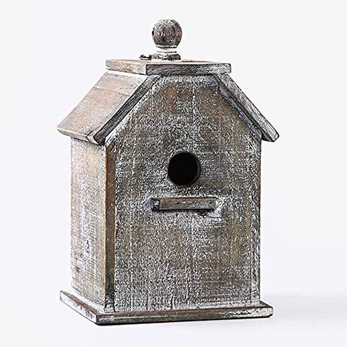 Casa del pájaro Casa de Madera Mesa de jardín Aves alimentador alimentación Estación libre de pie Alimentación Tabla estación de Casa del pájaro por pájaros pequeños adornos de jardín (Color: Blanco,