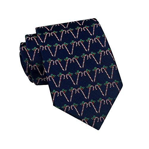 Paedto Corbatas de Hombre, Corbata para Fiesta de Negocios, Negocios Formales, Boda, Traje, Camisa de Vestir (Bastones de caramelo - Azul marino)-8x145cm