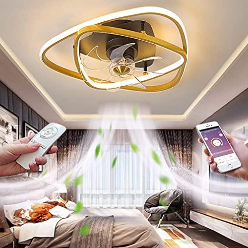 Ventiladores de Techo Silenciosos con Mando LED Luz De Techo del Ventilador con Remoto y App Control Regulable Iluminación Decorativa para Dormitorio Salón 3 velocidades Ø50CM
