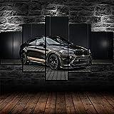 IIIUHU 5 Piezas Cuadro sobre Lienzo De Fotos BMW X6 Sports SUV Coche Negro Lienzo Impresión Cuadros Decoracion Salon Grandes Cuadros para Dormitorios Modernos Mural Pared Listo para Colgar