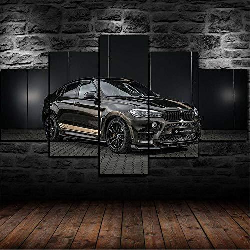 ADKMC IKDBMUE Cuadros Modernos Impresión de Imagen Artística Digitalizada | Lienzo Decorativo para Tu Salón o Dormitorio | X6 Sports SUV Car Negro | 5 Piezas 200x100cm(Sin Marco)