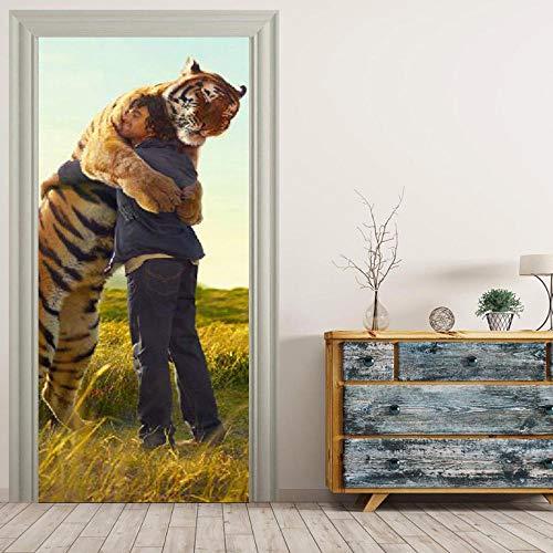 ZZwy Door Stickers 3D Aufkleber PVC Selbstklebend Einfachheit Tiere Tiger Charaktere (90 * 215Cm) Türaufkleber Türtapete Selbstklebend Türposter Kinderzimmer Fototapete Türfolie Poster Tapete