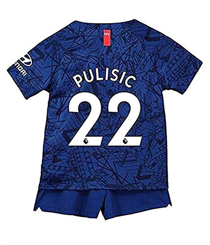 uukk Christian Pulisic #22 Jersey & Shorts Home Kids/Youths 2019/2020 Soccer T-Shirts Blue (Blue, M=24(8-9 Year Old))