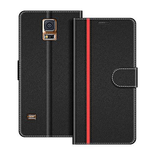COODIO Handyhülle für Samsung Galaxy S5 Handy Hülle, Samsung Galaxy S5 Hülle Leder Handytasche für Samsung Galaxy S5 / Galaxy S5 Neo Klapphülle Tasche, Schwarz/Rot