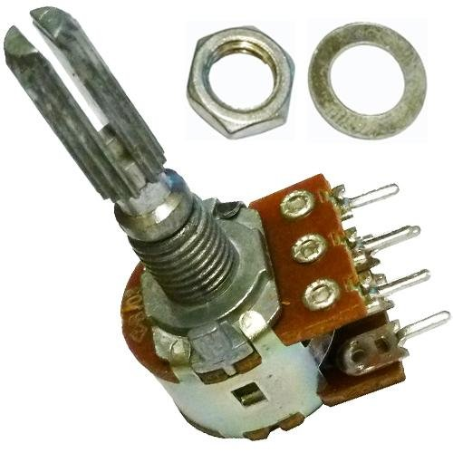 B10K ohm con interruptor SPST 10K ohmios B103 solo mono lineal Lin moleteado eje rotatorio estriado Potenciómetro Pot 5 eje terminal: 25mm
