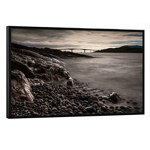 artboxONE Poster mit schwarzem Rahmen 30x20 cm Natur Die Brücke - Bild brücke norwegen Stone