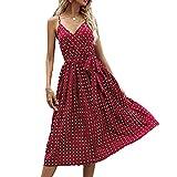 Vestido Plisado De Gasa De Verano De Longitud Media con Cordones Y Lunares para Mujer