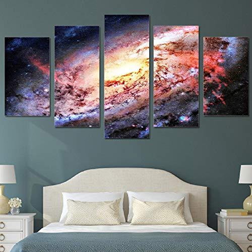 XIXISA 5 Piezas Pared Arte Lienzo Pintura HD Imprimir Universo Espacio Galaxia Estrellas decoración del hogar póster Cuadro Panel Pinturas 30x50 30x70 30x80cm Sin Marco
