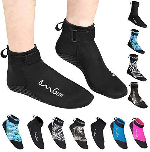 OMGear Neoprene Socks Booties(Low-Cut) for Snorkeling Surfing Diving Spearfishing All Watersports &Beach Activities (Black, 2XL(Men 11-12,women12-13))