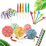 100 Piece Cocktail Party Decoration Drinks Accessory Pack with Reusable Umbrellas, Reusable Sparkle Fireworks, Reusable Stirrers and Biodegradable Straws Reusable