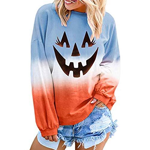 FOTBIMK Halloween Sport Femme Tee Shirt en Vrac À Imprimé Citrouille Pull À Manches Longues pour Femmes Colorblock Tie Smiley Halloween Bleu S