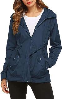 Imily Bela - Chaqueta cortavientos con capucha para mujer, resistente al agua, impermeable y cortavientos, con cordón