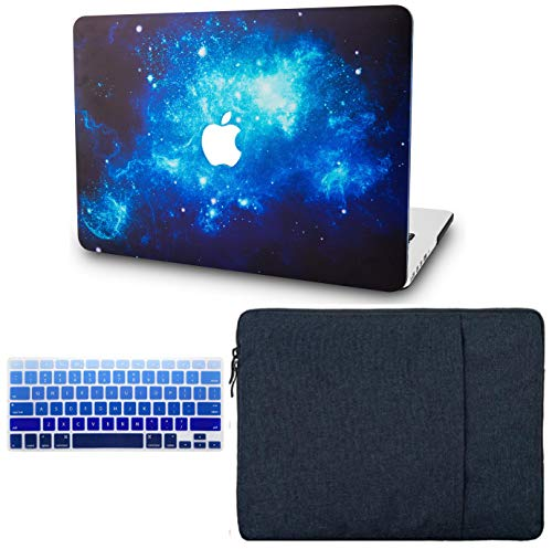 KECC Laptop Case for MacBook Pro 13' (2020/2019/2018/2017/2016, with/Without Touch Bar) w/Keyboard Cover + Sleeve Plastic Hard Shell Case A2159/A1989/A1706/A1708 3 in 1 Bundle (Blue 2)