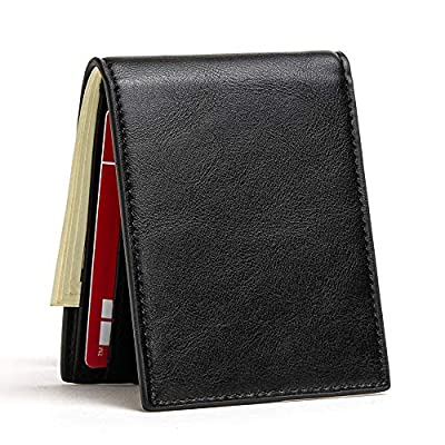 Slim Wallets for Men & Women RFID Blocking Card Holder Front Pocket Wallets with ID Window Credit Card Bifold Wallets (Black)